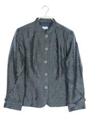 Peter Hahn - metallic-blazer-jacke mit floralem muster - D ...
